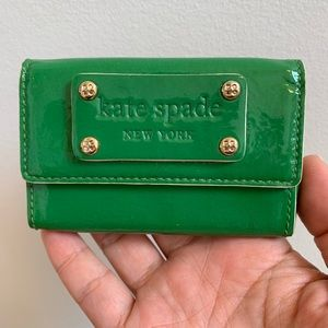 Kate Spade Green Patent Leather Card Holder Case
